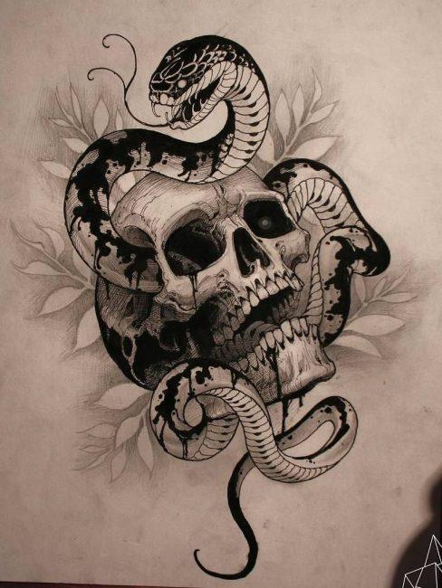 """Эскиз татуировки """"череп и змея"""""""