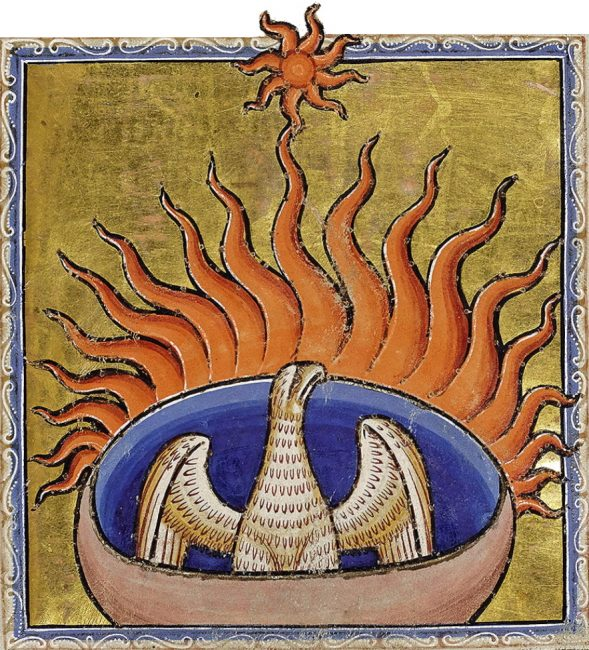 Феникса в старину изображали в книгах, на картинах и гобеленах