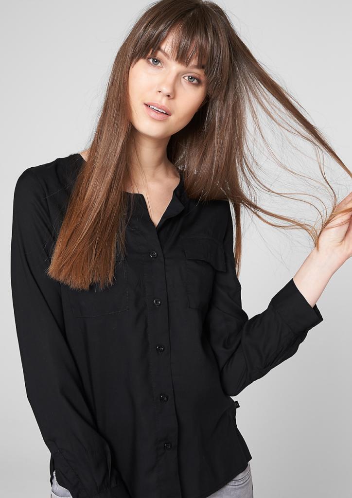 Длинные волосы с челкой