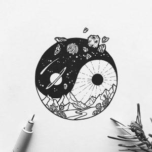 Эскизы черно-белых тату