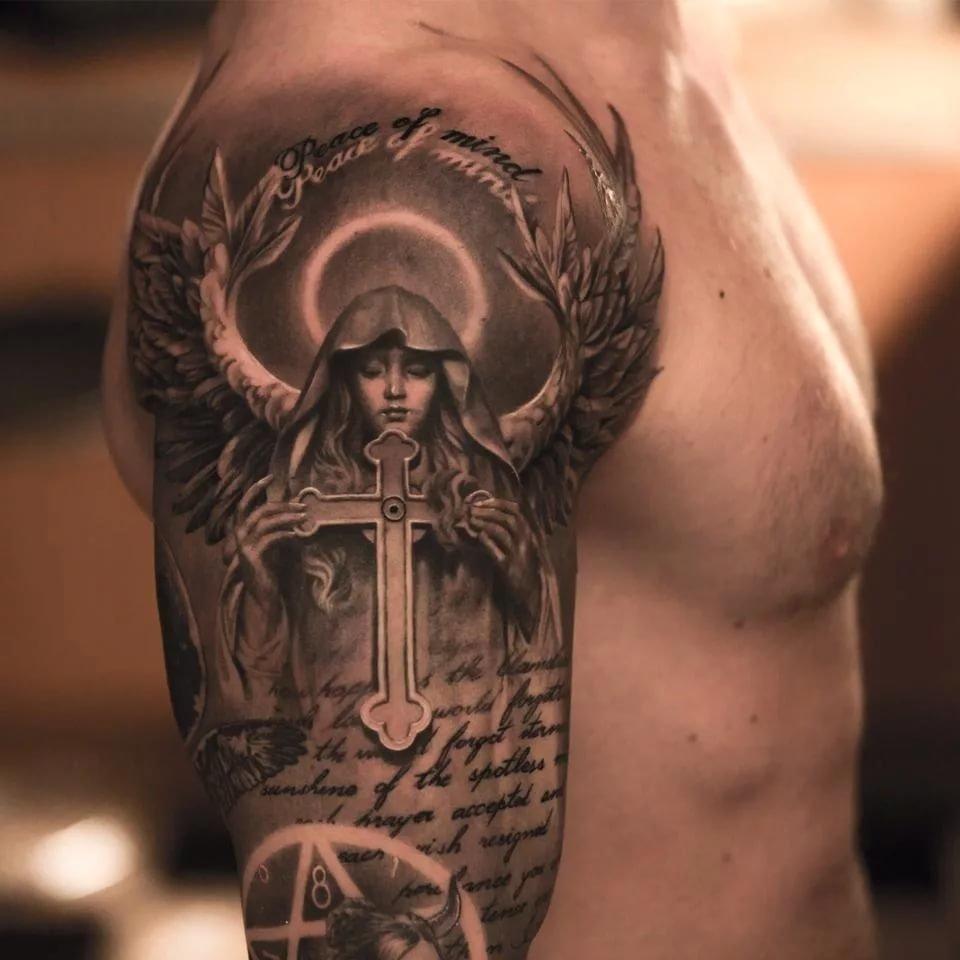 ангелы тату фото значение плечо мужские территории функционирует