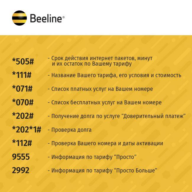 Список номеров Билайн