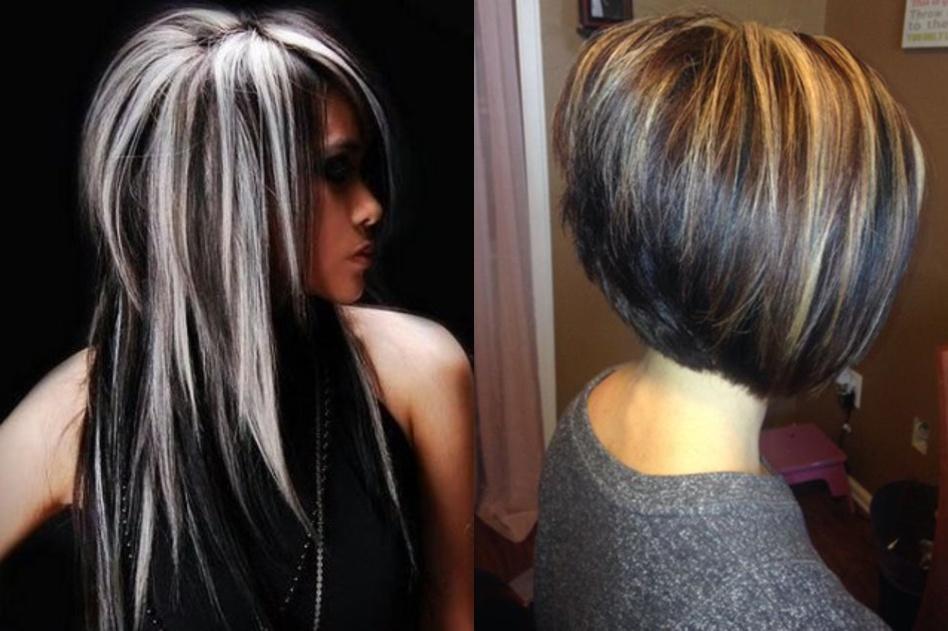 черное мелирование на темные волосы