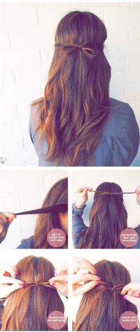 Тонкий бантик из волос
