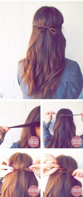 Милый бантик из волос