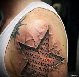 Значение татуировок в виде звезды: за ухом, на плечах, коленях, руках, запястьях, шее, ноге, груди, локте у девушек и мужчин, эскизы. ТОП-3 видов звезд + 80 ФОТО