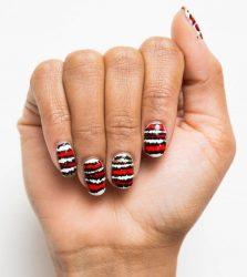 Модный маникюр в 2018 году с полосками и лентами: красными,белыми, черными, золотыми + 125 ФОТО