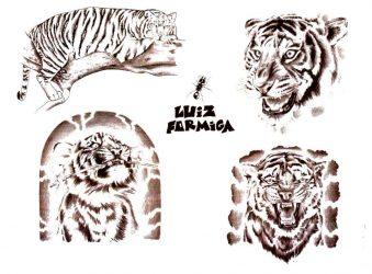 Значение тату тигра для мужчин: с оскалом, на руке, плече, груди, спине, предплечье, ноге, с драконом, голова, белый. Эскизы + 150 ФОТО