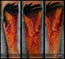 Значение тату феникса и Жар-Птицы для девушек, женщин и мужчин: на руке, спине, запястье, бедре, ноге, плече, перо, маленькое, черно-белое, цветное. Эскизы + 120 ФОТО