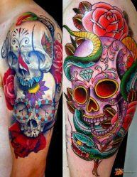 Тату с черепом: для мужчин, с розой, цветами, короной, змеей, на кисти, руке, плече, лице, спине. Значение и эскизы, ТОП-7 мифов о тату + 135 ФОТО