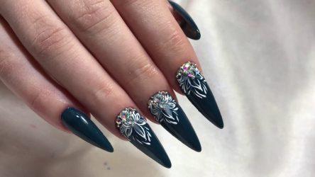 Красивый дизайн и маникюр на острых длинных ногтях осень 2018 год: идеи, новинки, тенденции, френч, белый, матовый, модный, нежный +125 ФОТО