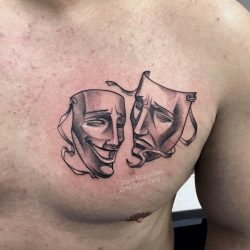 Значения тату с маской: японская, театральная, Ханья, самурая, две маски. Эскизы + 100 ФОТО