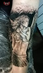 Тату с ангелом: крылья, на спине, ангел и демон, девушка-ангел, ангел-хранитель. Эскизы, значения + 105 ФОТО
